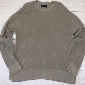 All Saints Sweaters - All Saints Men's Forram LS Crew Distressed Sweater